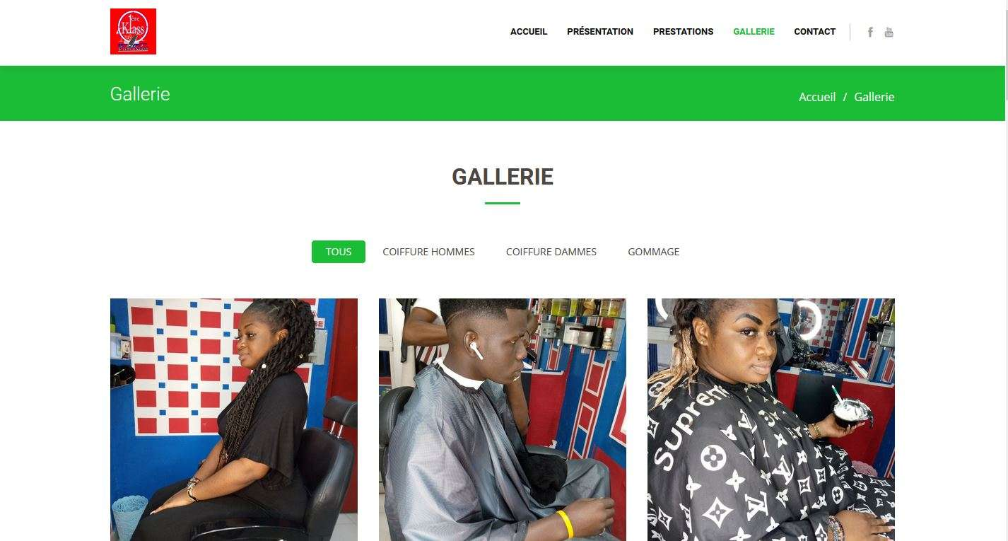 Création site internet du salon de coiffure 1ereklass